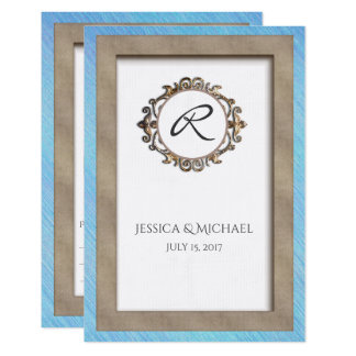 Blue and Bronze Monogrammed RSVP Wedding Response Card