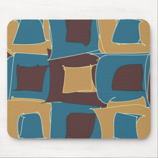 Blue and Brown Abstract Geometric Shape Mouse Pad