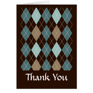 Blue and Brown Argyle Fashion Pattern Card