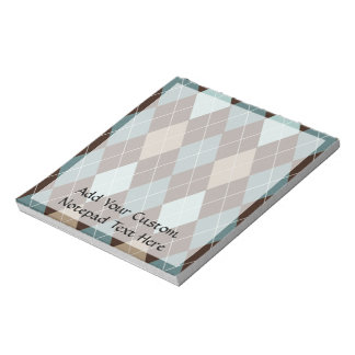 Blue and Brown Argyle Fashion Pattern Notepads
