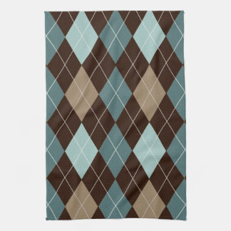 Blue and Brown Argyle Fashion Pattern Tea Towel