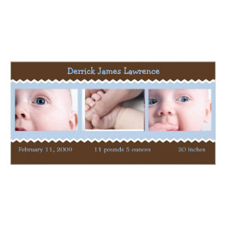 Blue and Brown baby announcement Customized Photo Card