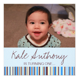 Blue and Brown Baby Boy 1st Birthday Invitation