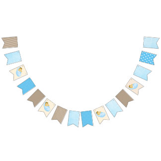 Blue and Brown Baby Boy Baby Shower Party Banner