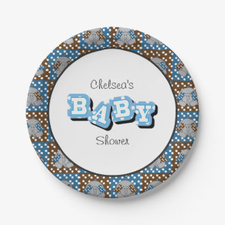 Blue and Brown Baby Elephants | Personalize 7 Inch Paper Plate