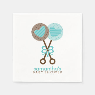 Blue and Brown Baby Rattles Paper Napkins