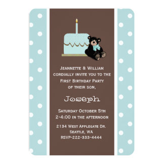 """Blue and Brown Baby's First Birthday Invitation 5"""" X 7"""" Invitation Card"""