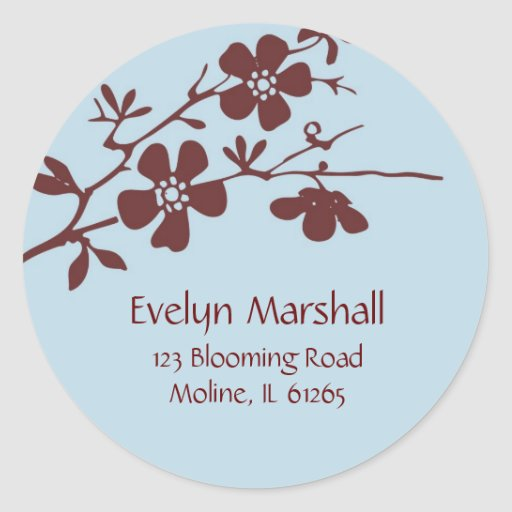 Blue and Brown Blossoms, Address Labels Sticker