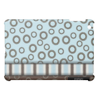 Blue and Brown Circles and Stripes Retro iPad Case For The iPad Mini