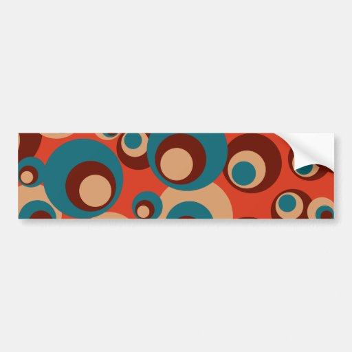Blue and brown circles on a red background bumper sticker