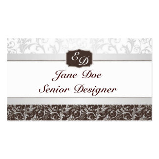 Blue And Brown Damask Pack Of Standard Business Cards