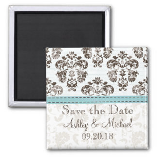Blue and Brown Damask Save the Date Magnet