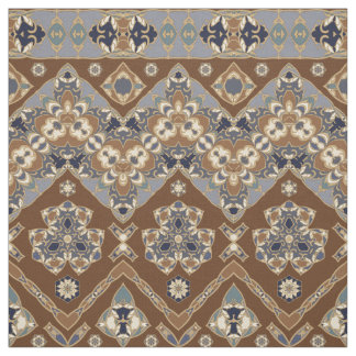 Blue and brown ethnic pattern Fabric