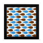 Blue and Brown Fish on White Jewelry Boxes