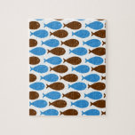Blue and Brown Fish on White Puzzles