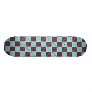 Blue and Brown Geo Plaid Skate Board Deck