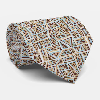 Blue and Brown Geometric Pattern Tie
