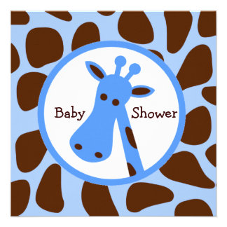 Blue and Brown Giraffe Boy Baby Shower Custom Announcements