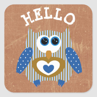 Blue and Brown Hello Owl Cute Adorable Stickers