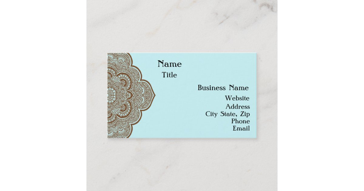 Blue and Brown Henna Business Card | Zazzle.com.au