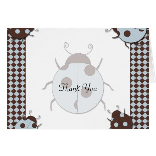 Blue and Brown Ladybug Thank You Greeting Card
