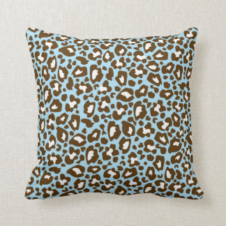 Blue and Brown Leopard Spotted Animal Print Cushion