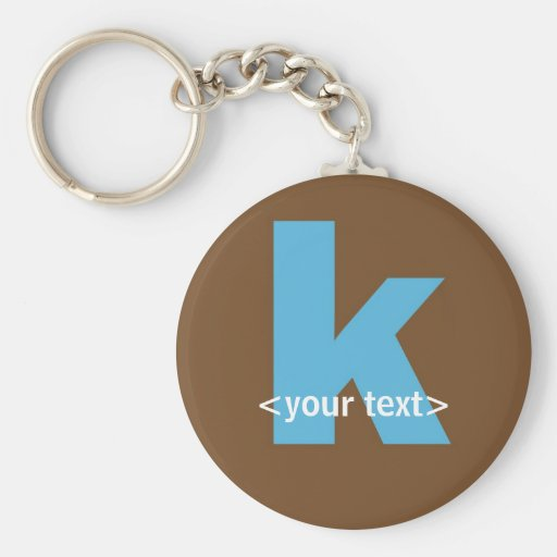 Blue and Brown Monogram - Letter K Key Chain