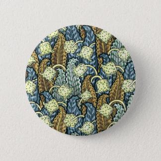 Blue and Brown Nouveau Garden 6 Cm Round Badge