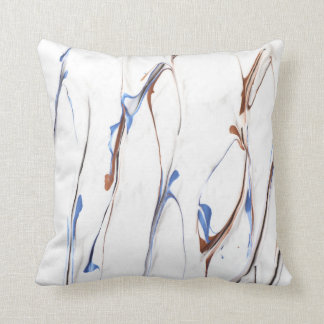 Blue and brown paint streaks throw pillow