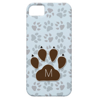 Blue and Brown Paw Prints with Monogram iPhone 5 Covers