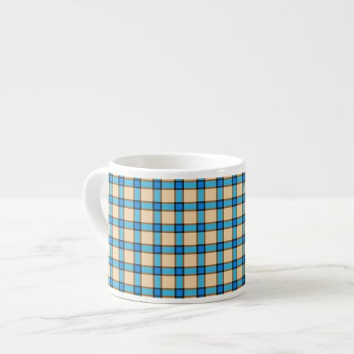 Blue and Brown Plaid Espresso Cups