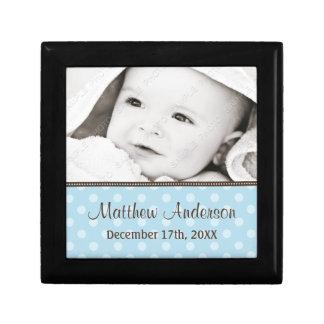 Blue and Brown Polka Dot Baby Photo Keepsake Small Square Gift Box