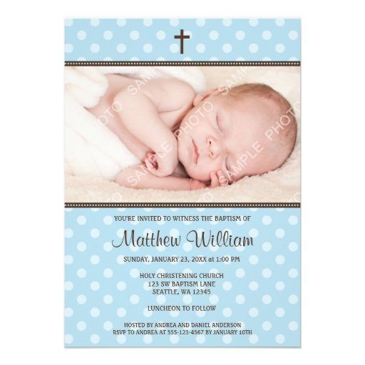 Blue and Brown Polka Dot Cross Boy Photo Baptism Custom Invitation