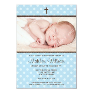Blue and Brown Polka Dot Cross Boy Photo Baptism 5x7 Paper Invitation Card