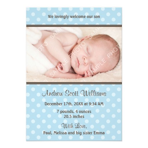 Blue and Brown Polka Dot Photo Birth Announcement