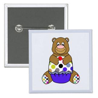 Blue And Brown Polkadot Bear Pinback Buttons
