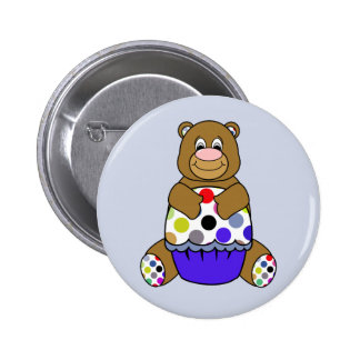 Blue And Brown Polkadot Bear 6 Cm Round Badge