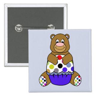 Blue And Brown Polkadot Bear Pin