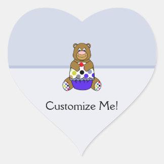 Blue And Brown Polkadot Bear Heart Sticker