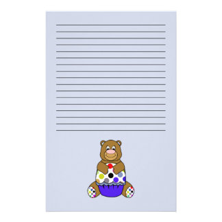 Blue And Brown Polkadot Bear Stationery