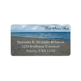 Blue and Brown Sands ~ Beach Wedding Address Label