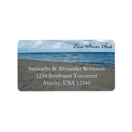 Blue and Brown Sands ~ Beach Wedding Label
