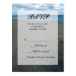Blue and Brown Sands ~ Beach Wedding RSVP Reply Post Card