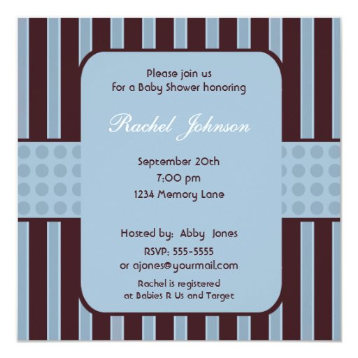 Blue and Brown Stripe Baby Shower Invitation