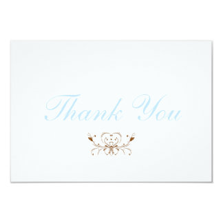 Blue and Brown Thank You Note Cards 9 Cm X 13 Cm Invitation Card