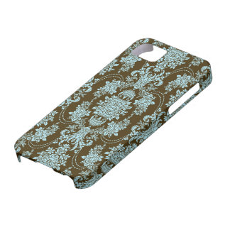 Blue And Brown Vintage Baroque Floral Pattern iPhone 5 Covers
