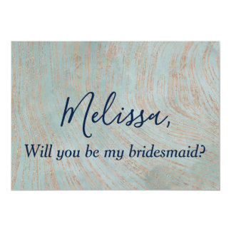 Blue and Copper Bridesmaid Proposal Card