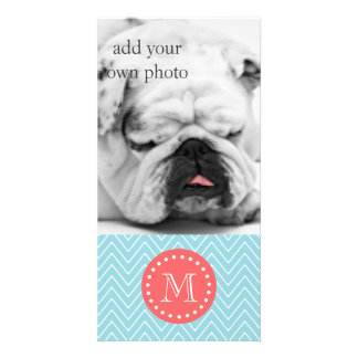 Blue and Coral Chevron with Custom Monogram Photo Card