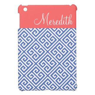 Blue and Coral Greek Key Custom Monogram Case For The iPad Mini