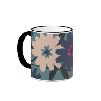 Blue and Cream Blooms Coffee Mug